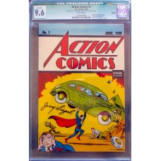 Action#1 Reprint - Signed by Jerry Siegel - CGC Graded 9.6!