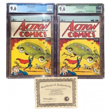 Action 1 Reprint Combo - Jerry Siegel  Signed CGC Graded 9.6 - Unsigned Action #1 Reprint 9.6!!